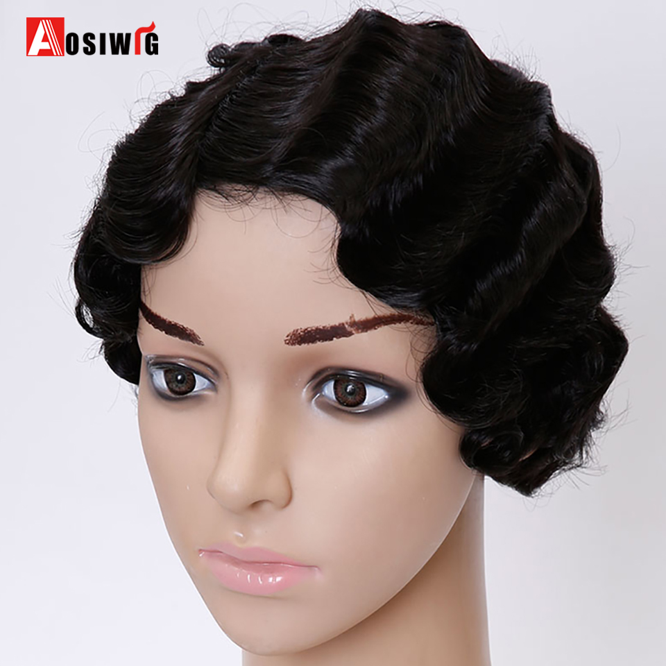 AOSIWIG  Short Curly Black Cute Wig for Black  Women African Afro Hair Synthetic Wigs For Black Women Short Hair