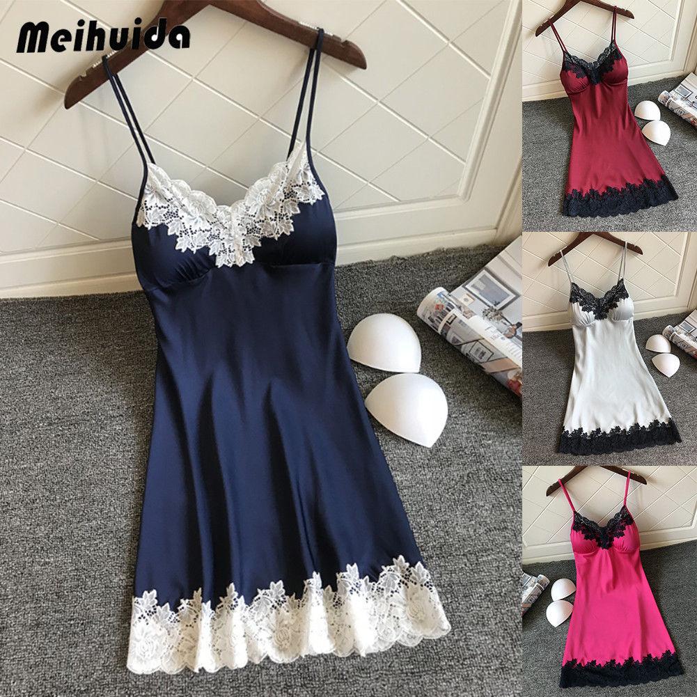 Sexy Women Lingerie Silk Robe Dress Nightdress Soft Lace Casual Nightgown Straps Sleepwear Nightdres