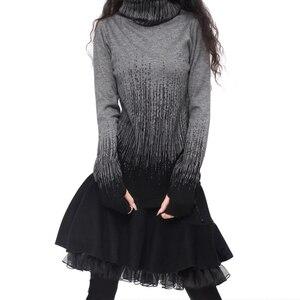 Image 2 - שיפוע שחור כחול Vintage של נשים קשמיר סוודר גולף חורף נשים עבה נשי סוודרים וסוודרים מגשרים חמים