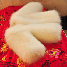 Furry Toddler Little Baby Faux Fox Fur Jacket 2018 Autumn Winter Coats For Girls Children Outerwears Kids Cotton Clothing N181(China)