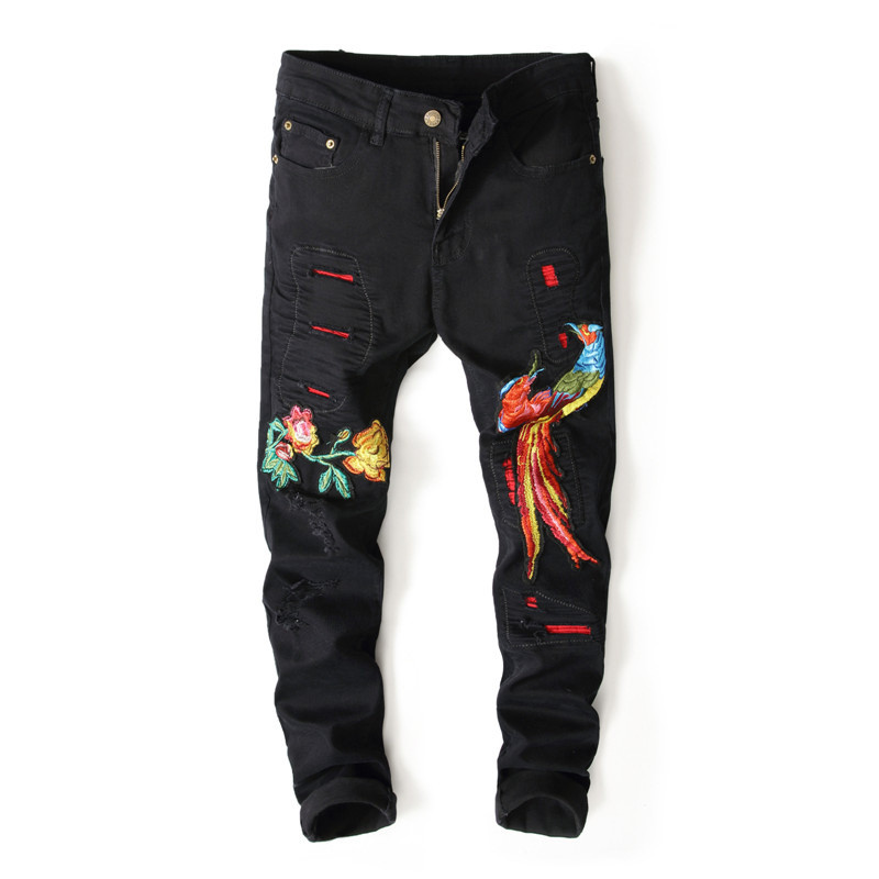 4b75a436 Newsosoo Mens Ripped Embroidered Jeans Pants Slim Fit Straight Distressed  Denim Trousers With Flower And Phoenix Embroidery