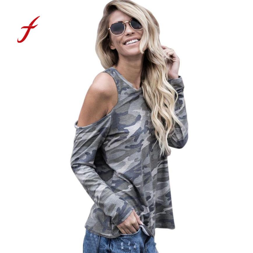 Feitong 2018 Women Off Shoulder Camouflage Print T Shirt Cotton Casual Funny Long Sleeve O Neck Female Loose Tops T-Shirt