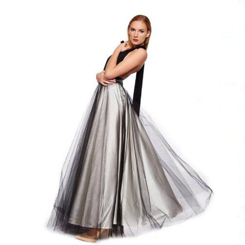 Plata Cintura Longitud Colores Falda Elegante Gris Completo Maxi Dos Adultos Amplia Encargo De Piso Larga Cremallera SqdvS8