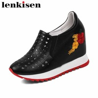 Lenkisen hot sale cow leather slip on beauty embroidery super high bottom internal increased hollow woman vulcanized shoes L90