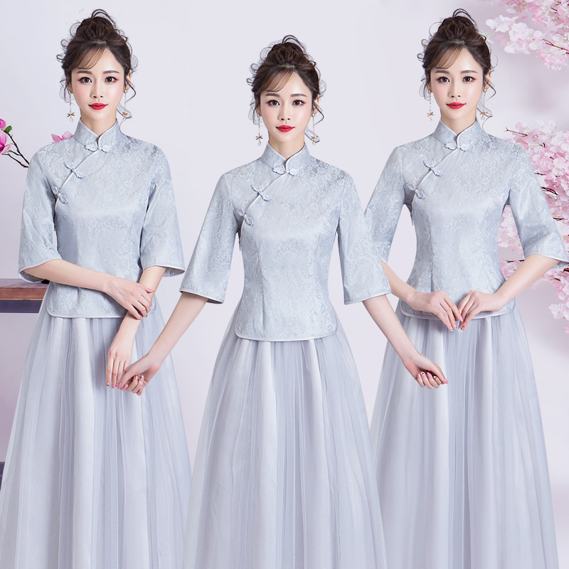 Wedding Guest Dress Tea Length Elegant Qipao Woman For Party Plus Size Tulle Prom Princess Dress Embroidery A-Line Cheongsam