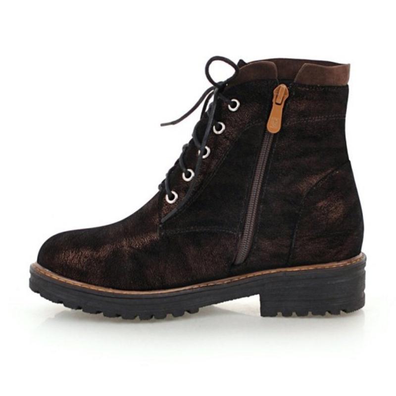 De Mujeres Para Tacones Cremallera Invierno marrón Con Calzado 43 Zapatos Tobillo Punta Tamaño Redonda Taoffen Gruesos Oficina Botas Señora Cruz 34 Las Correa Negro AXn0z