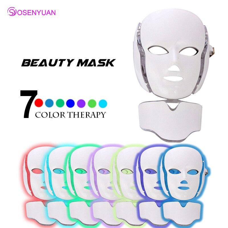 2018 i più nuovi 3/7 Colori Photon Maschera Per il Viso LED Luce di 7 Colori Photon Stringere I Pori Ringiovanimento Della Pelle Anti Acne Rimozione Delle Rughe