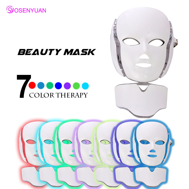 2018 newest 3/7 Colors Photon LED Facial Mask 7 Color Light Photon Tighten Pores Skin Rejuvenation Anti Acne Wrinkle Removal