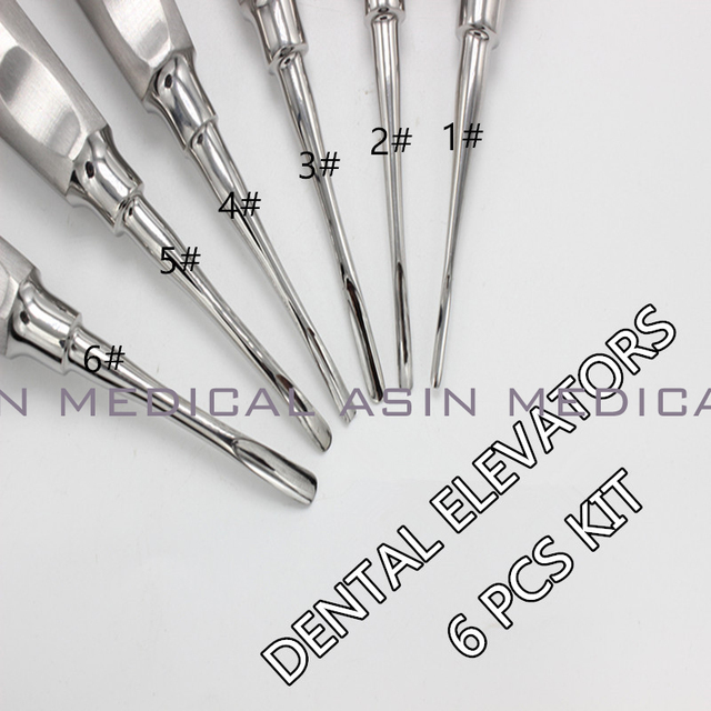 6 pcs/ kit dental lab dentistry dentist dental detista equipment for teeth whitening curved ROOT ELEVATOR