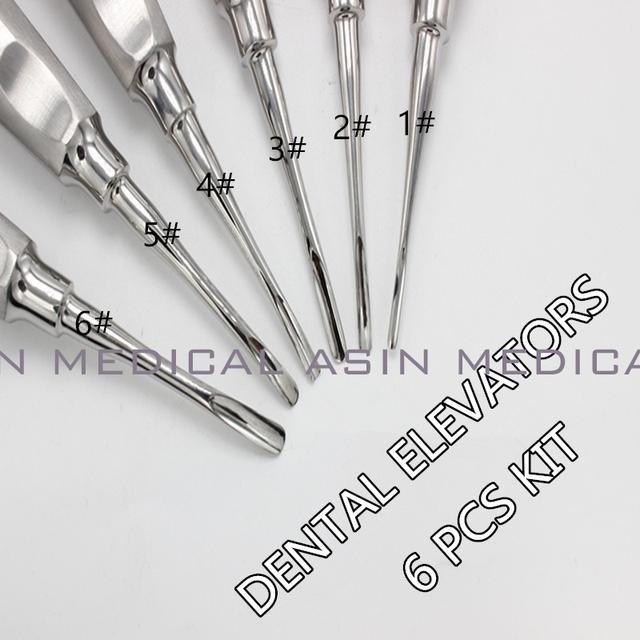 6 pcs/kit laboratório dental odontologia dentista dental equipamento para clareamento dos dentes curvo detista ELEVADOR DA RAIZ