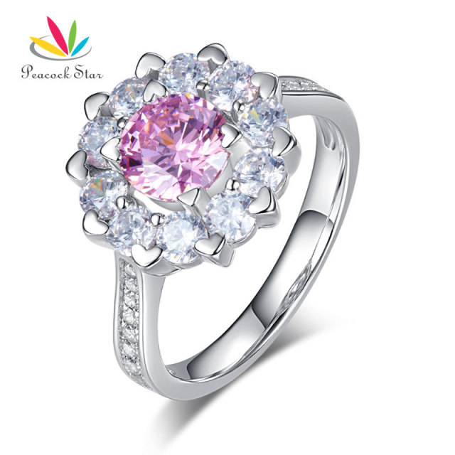 peacock star snowflake 925 sterling silver wedding promise anniversary ring 1 ct fancy pink stone cfr8264 - 25th Wedding Anniversary Rings