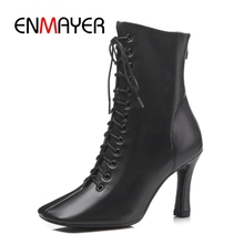 ENMAYER  Women Ankle boots Short women lace up thin heel high for solid square toe shoes ZYL934