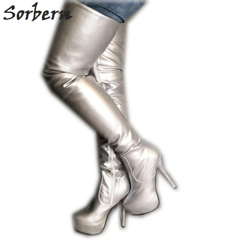 Sorbern Silver Mid Thigh High Boots For