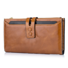 2017 Cow Genuine Leather Hasp Zipper Long Large Wallet for Large Screen Phone Receipt Bank Card Holders Zero Purse Bank Note