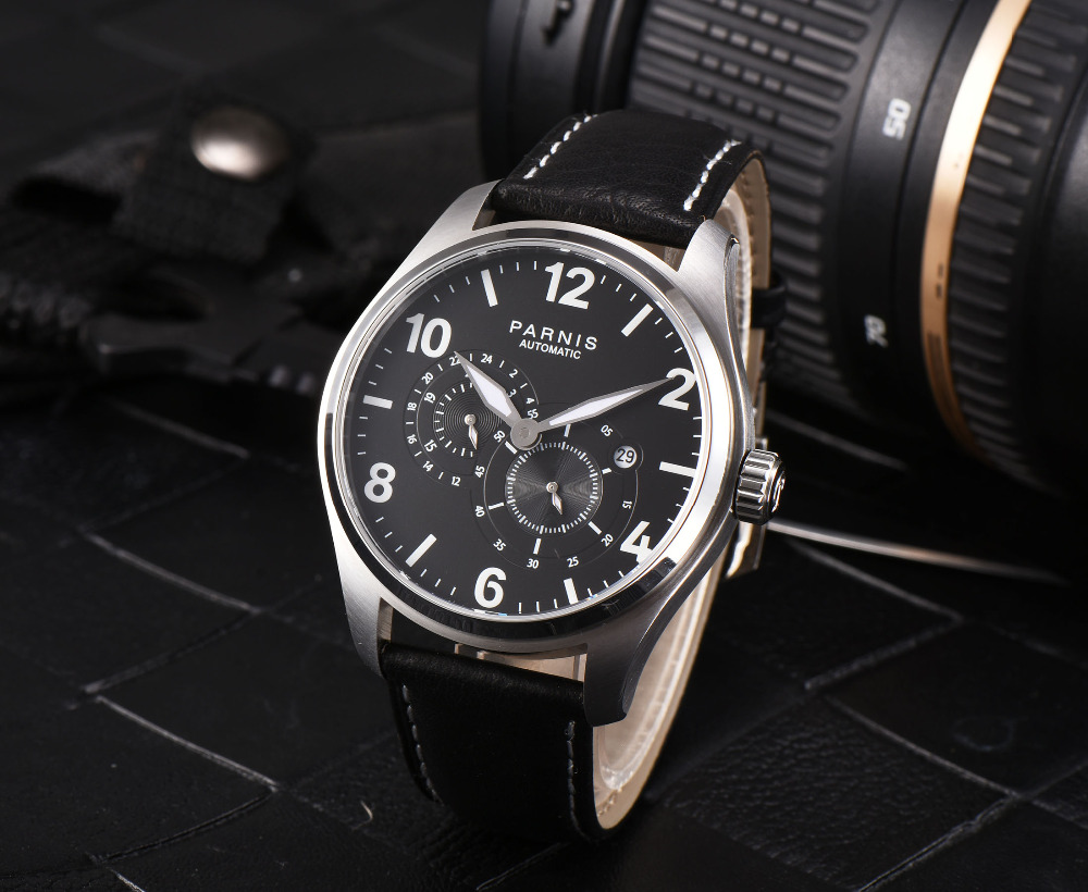 Fashion 43mm parnis Black Dial Date Window SS Case Sapphire Glass Luxury 21 Jewels Miyota Automatic Movement mens WatchFashion 43mm parnis Black Dial Date Window SS Case Sapphire Glass Luxury 21 Jewels Miyota Automatic Movement mens Watch