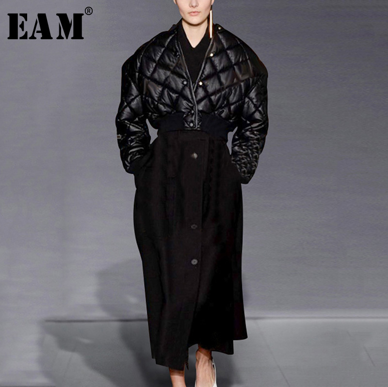 [EAM] 2018 осень зима женщина темперамент сплошной черный Singel однобортный с длинным рукавом свободные пуховики и куртки Длинная юбка костюм LD0477