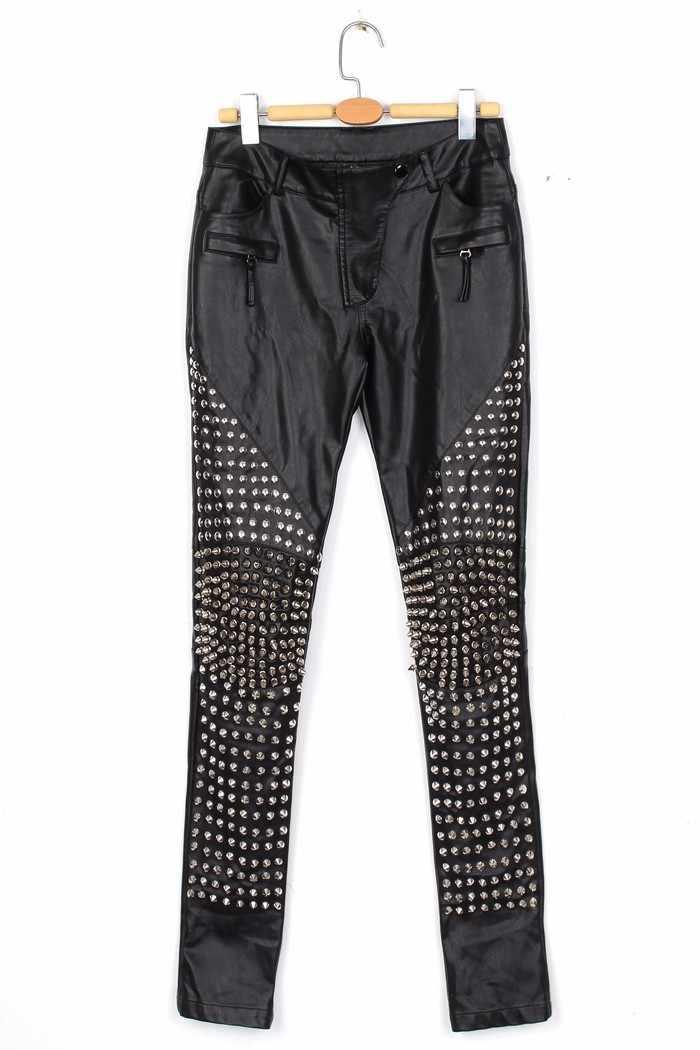 Femminile Pantaloni di Pelle Sottile Rivetto Pantaloni Pantaloni di Marea Delle Donne Discoteca Rock Hip-Hop Vestiti di Prestazione Femminile Ghette Dei Pantaloni Della Matita