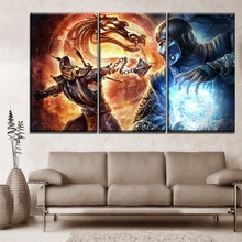 Modern Canvas Print Art 3 Pieces Game Mortal Kombat Scorpion And Sub-Zero Poster Home Decor Living Room Or Bedroom Wall