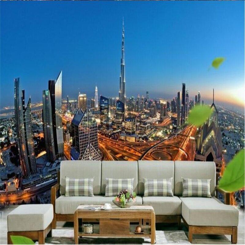 DIY Materials Wallpaper Murals Cityscape of Dubai at night Mural
