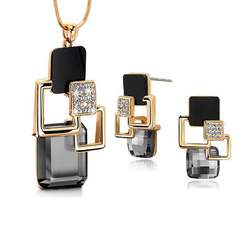 Europejska i amerykańska moda osobowość złoty Hollow geometryczne duży kryształ kamień zestawy biżuterii dla kobiet Party akcesoria
