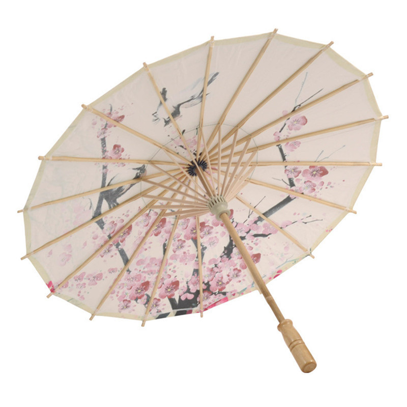 image regarding Umbrella Pattern Printable titled US $7.47 35% OFFChinese Silk Fabric Umbrella Clical Design and style Ornamental females Oil Paper Plum fowl habit print artwork Umbrella 2019 type-within just Umbrellas