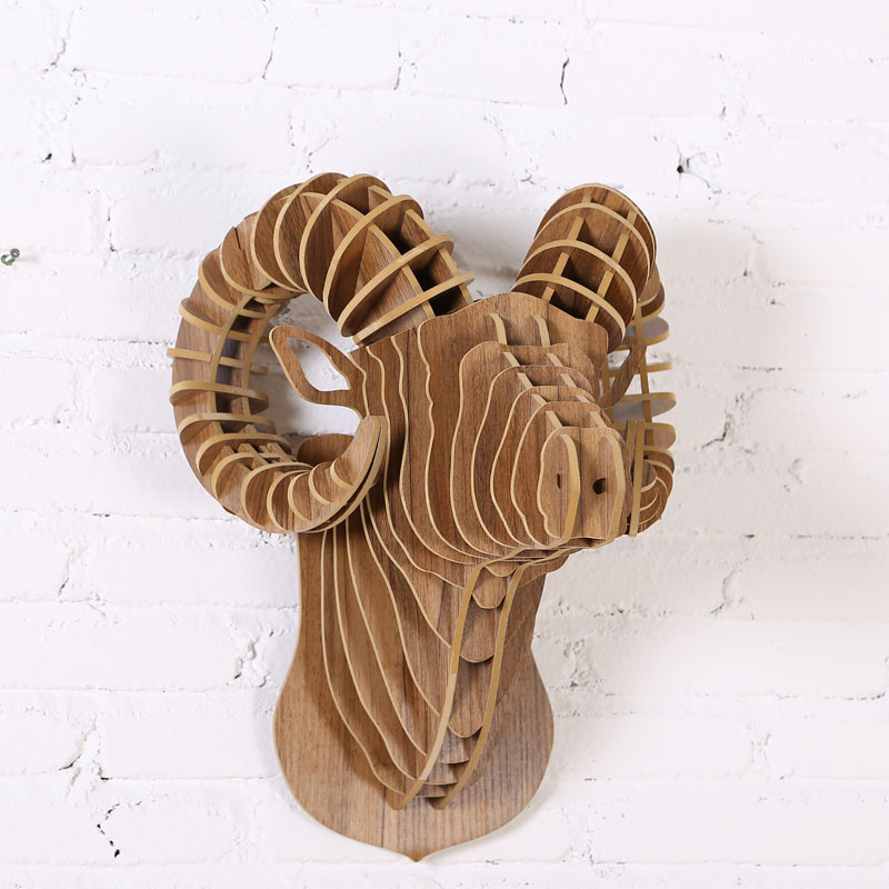 Diy 3d Puzzle Rgali Head North Europe Style Wooden Animal