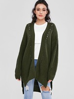 Elastic Collarless Loose Women's Cardigan Autumn Full Sleeve Grommet Solid Open Front LLoose Ladies Cardigans Chunky Casual