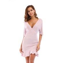 YYFS 2019 New Casual Ruffles Bat Sleeve Sexy V-neck A-Line Cotton Dress Women Beach Mini Dresses Vestidos Plus Size