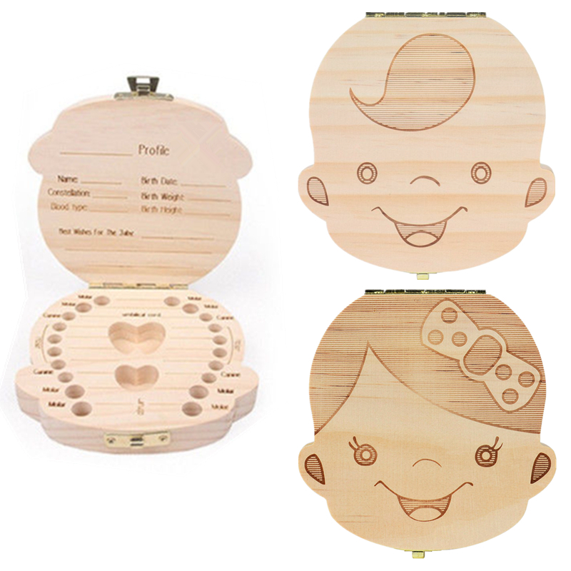 Spanish/English/Russian/French Save Milk Teeth Wood Storage Collecting Teeth Umbilical Cord Organizador Wood Tooth Box Organizer