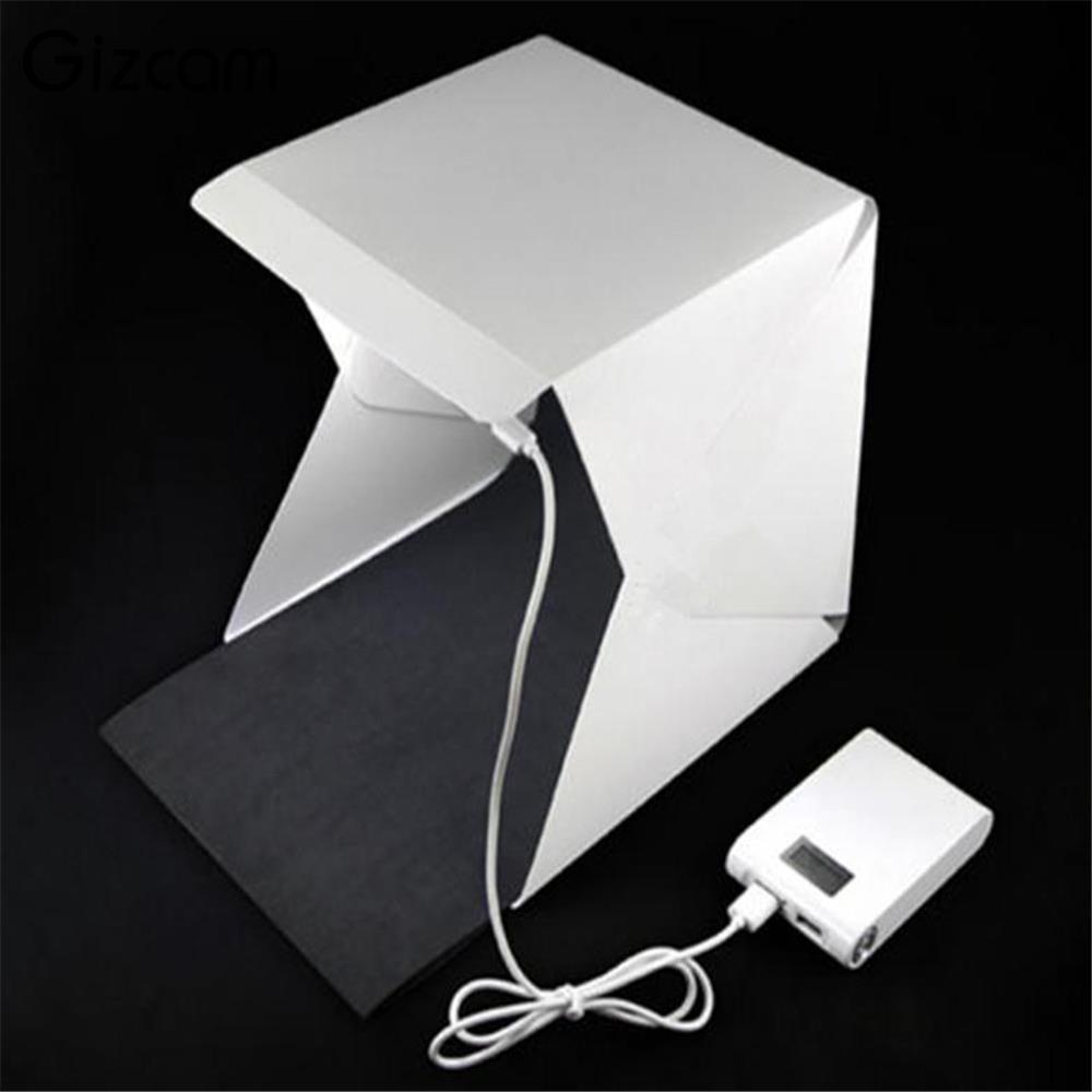 Gizcam Mini Portable Folding lightbox Photography Photo Studio Softbox Lighting Kit Light box for Phone Digital DSLR Camera