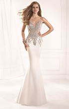 Gorgeous White Mermaid Backless Taffeta Floor Length Sequins Applique Prom Dresses 2014 New Arrival Evening Dress
