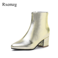 Rxemzg warm plush winter autumn shoes women ankle high heel boots gold silver ankle boots for women party shoes plus size 32 45