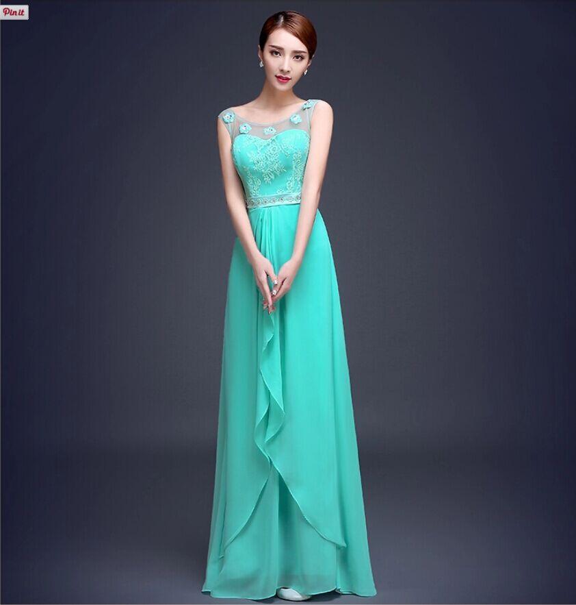 Vestido De Festa turquesa Vestido De dama De gasa en dos tonos dama ...