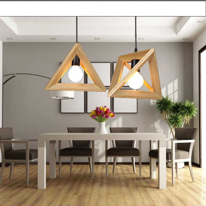 Nordic Creative Art Triangle Restaurant Chandelier Study Bedroom Simple Solid Wood Cafe Livingroom Clothing Store Bar Lamp nordic solid wood cafe chandelier personality restaurant wooden art creative bar study chinese style ball lamp free shipping