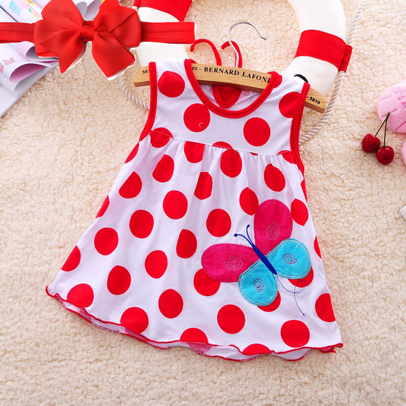 2019 New Cute Baby Girl Dress Cotton Dot Striped Slip Dress pera fiore Bambini Abbigliamento bambini 0-18M vestito