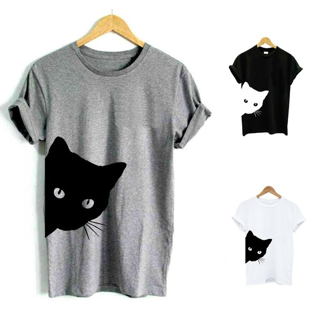 1bf522e41893 Cat Looking Outside Print female Tshirt Cotton Casual Funny T Shirt for  Lady Girl Tops 90s fashion women shirt popular top tees