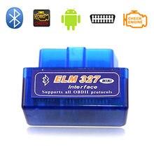 Wildauto super mini elm327 bluetooth interface v2.1 obd2 ii ferramenta de diagnóstico automático elm 327 trabalho no torque android/pc