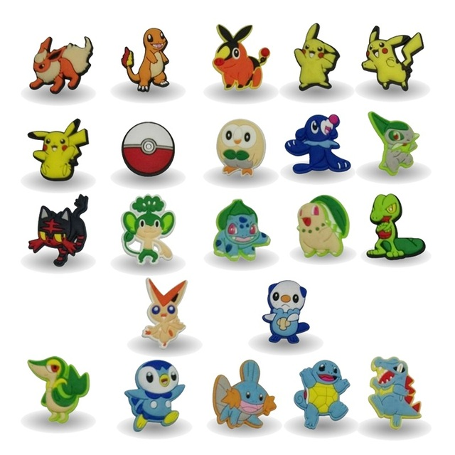 New Arrival 100pcs cartoon decoration PVC Pins badges brooches collection DIY charms fit Clothes Bags shoes kid gift