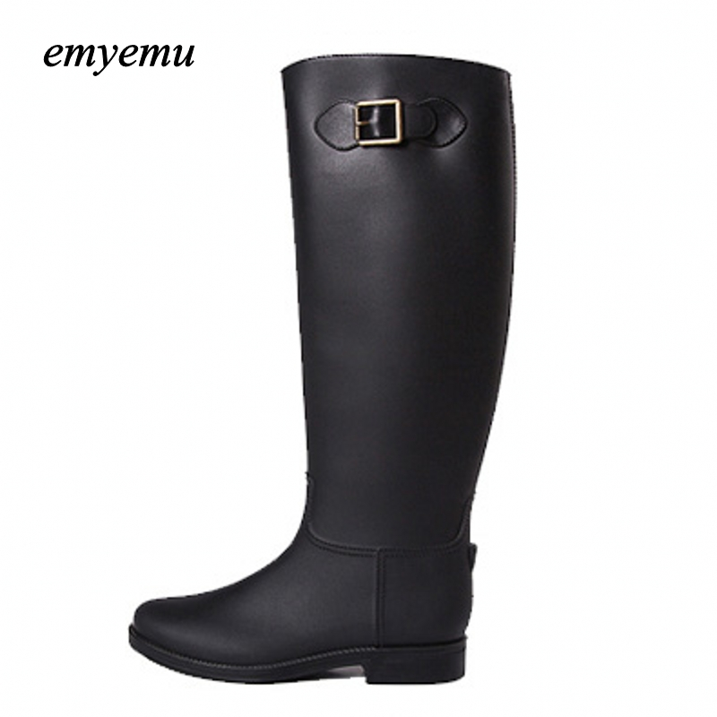 Famous Waterproof Wellies Women New Fashion Rain High Knee Length Black Rubber Boots Shoes almost famous new black tough love sweater msrp $49 00