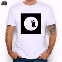 EnjoytheSpirit Funny Tee Graphic Shirt Minimalistic Monochrome Cat Fish Black Background Drawn Cats Humor Printing Younth Tee