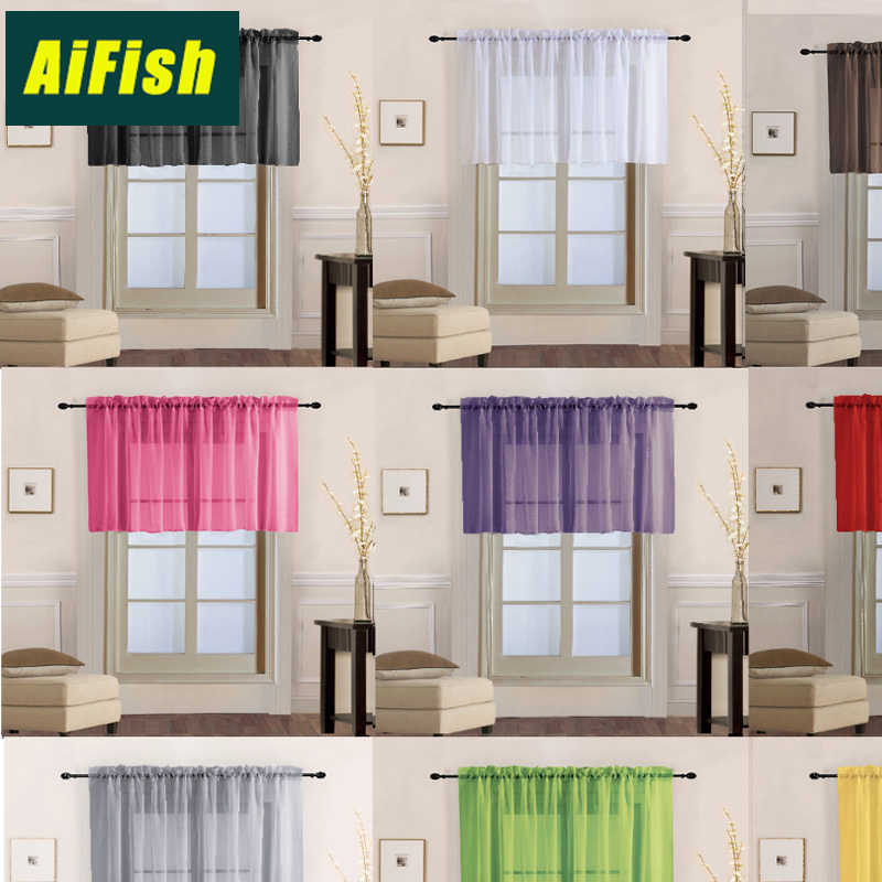 Simple Red Tulle Short Curtain Living Room Balcony Solid Color Tulle Short Curtain Free Shipping Can Be Customized  T006&1
