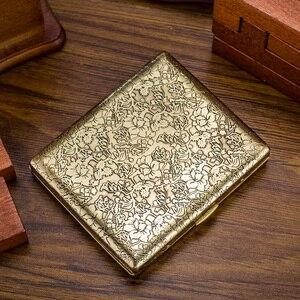 Image 3 - Fugui Peony Flower 20 Embossed Copper Cigarette Box Mens Ultra thin Creative Individual Retro Cigarette Clip