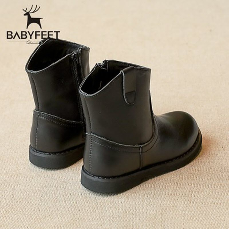2017 autumn and winter new babyfeet children shoes girls solid black brown leather booties baby princess boots side zipper 26-30