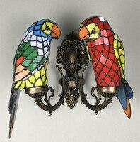 Ретро Винтаж Красочные стекло e14 лампы Бра Американский Тиффани DIY Главная деко Двойной попугай бронзовый алюминиевый бра свет