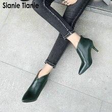 Sianie Tianie 2020 Thu Đông Xuân Mũi Nhọn V Cắt Người Phụ Nữ Boot Mỏng Giày Cao Gót Giày Nữ Mắt Cá Chân Giày Plus kích Thước 47 48