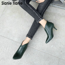 Sianie Tianie 2020 חורף סתיו אביב הבוהן מחודדת V לחתוך אישה נעלי עקבים גבוהים דקים נעלי נשים קרסול מגפי פלוס גודל 47 48