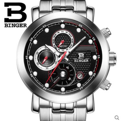 Binger New Luxury Brand Fashion Men Sports Watches Men's Quartz watch Man Full Steel Military Army Waterproof Wristwatch weide new men quartz casual watch army military sports watch waterproof back light men watches alarm clock multiple time zone