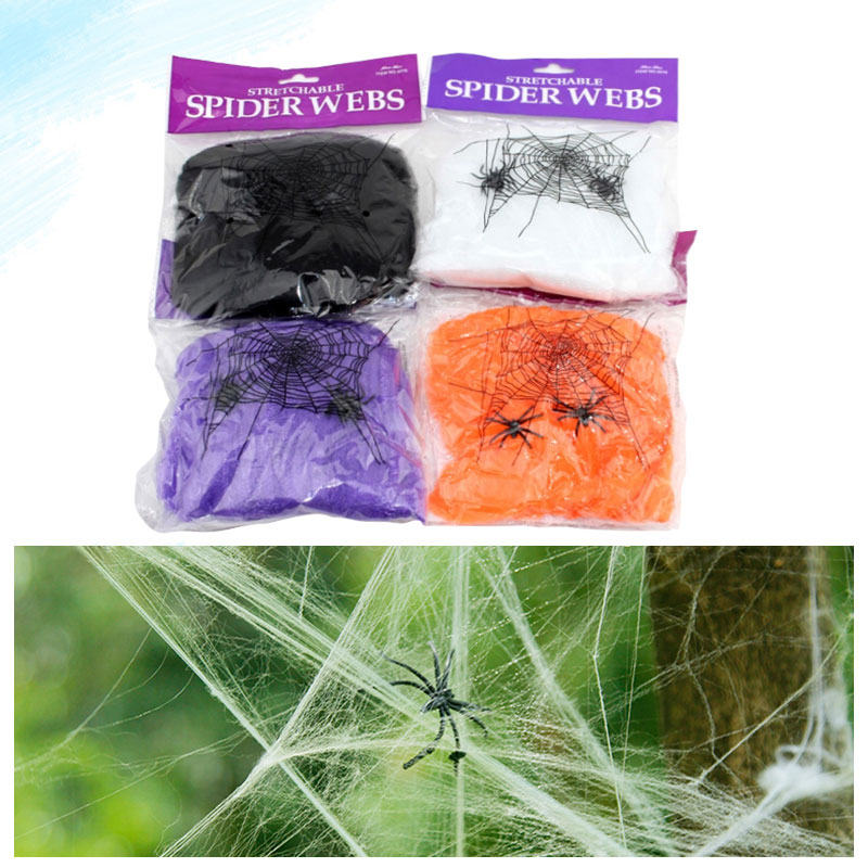 5 colors 2015 new funny silky cotton halloween spider web house outdoor scary halloween decorations party