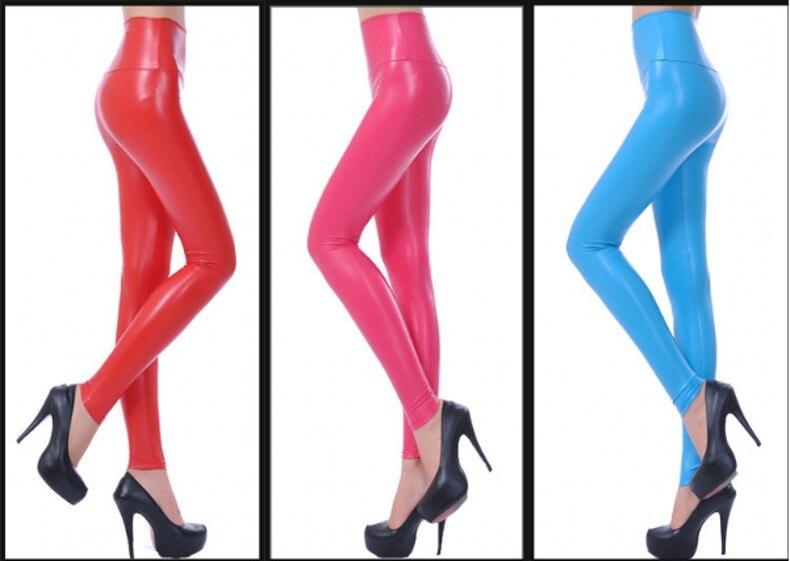 Womens PU Leather Pants High Elastic Waist Leggings Not Crack Slim Leather Leggings Fleece Trousers Women Fashion F80 25