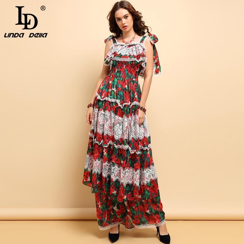 LD LINDA DELLA mode piste Maxi robe femmes taille élastique dentelle Patchwork imprimé Floral volants élégant fête longue robe